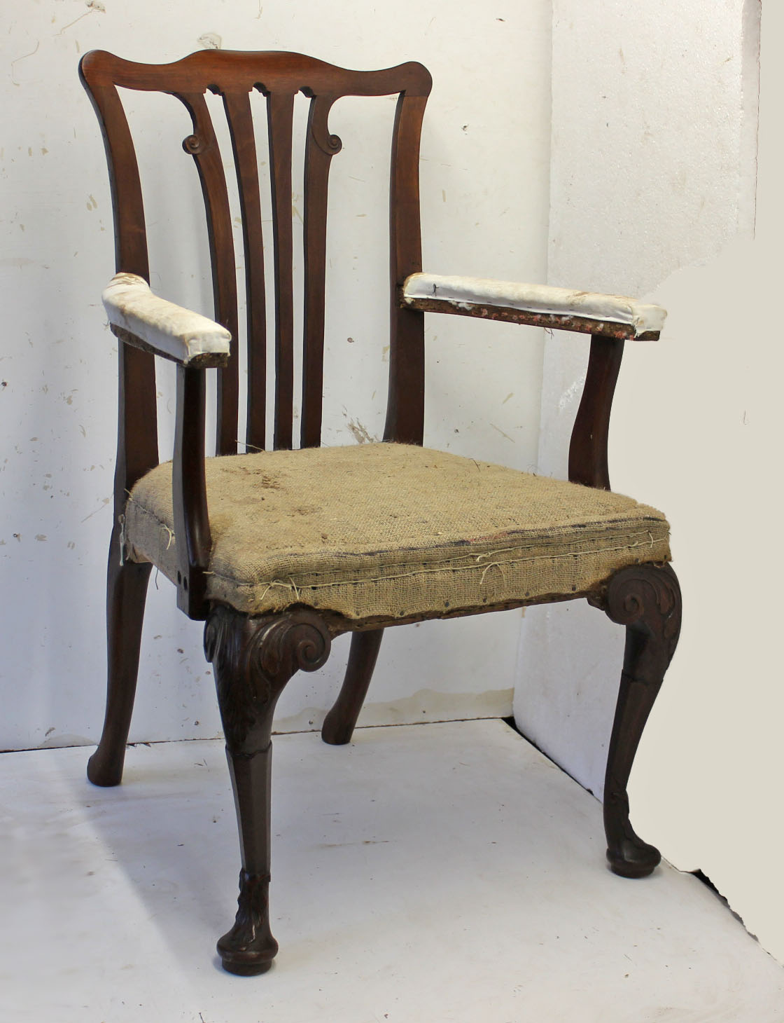 Antique chair restoration. An Irish George II walnut and mahogany carver - OldChairs.ie - We Run Weekend Restoration Courses. We Also Sell