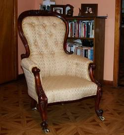 Victorian upholstered armchair restoration