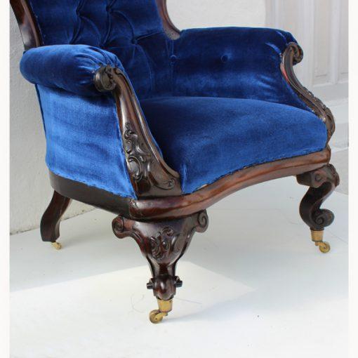 Rosewood armchair, William IV armchair, upholstered armchair, antique Irish armchair, Irish