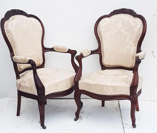 French mahogany salon chairs